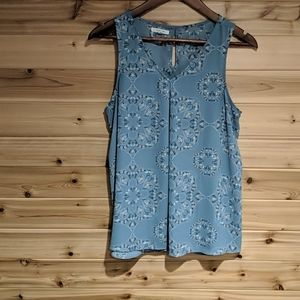 Maurices Dusty Blue Floral Tank Top Medium